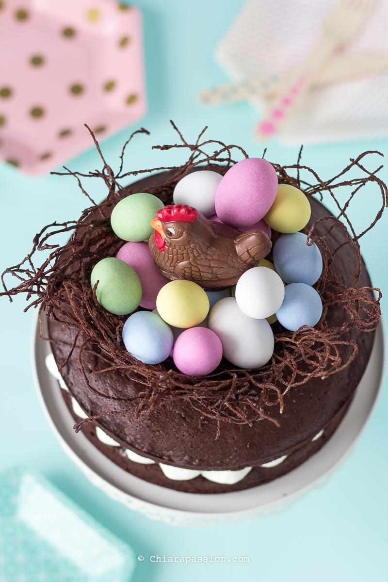 Torta al cioccolato nido di pasqua for Ricette dolci di pasqua