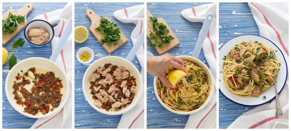 come-fare-la-pasta-con-il-tonno-limone-pomodori-secchi-capperi