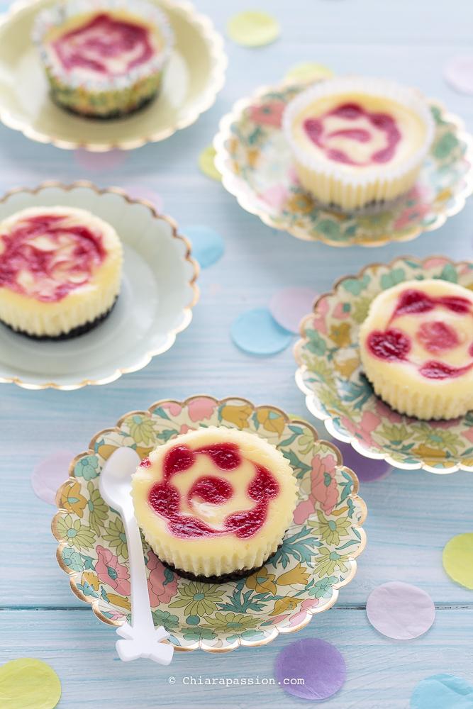 Mini Cheesecake Marmorizzate Ai Lamponi