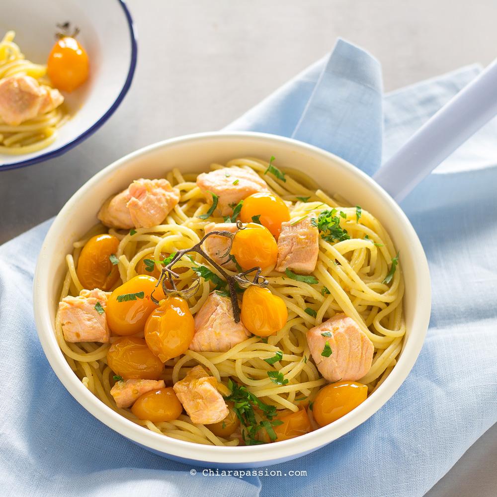 Pasta con salmone fresco e pomodorini pronta in 10 minuti for Spaghetti ricette