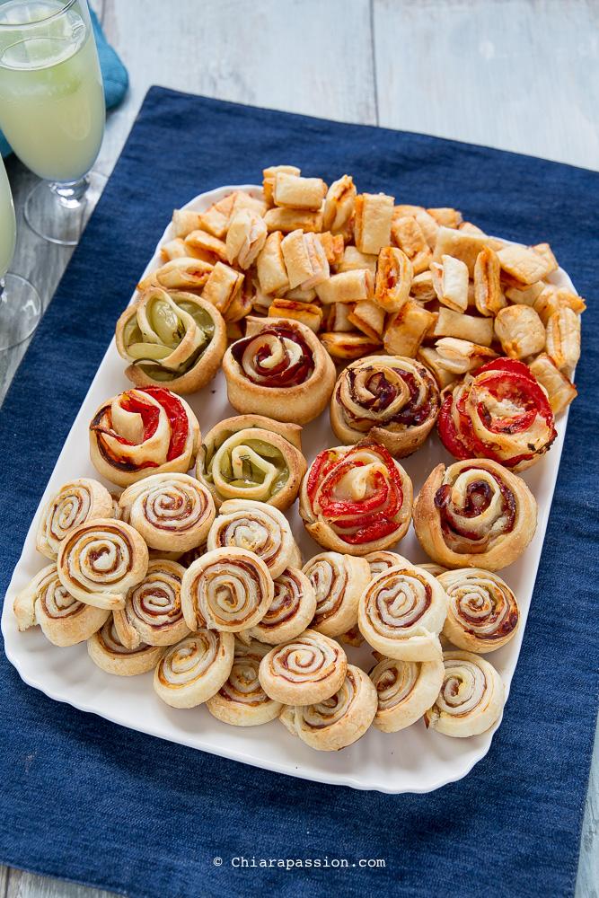 Stuzzichini per aperitivo girelle pasta sfoglia salatini for Idee per aperitivo a casa