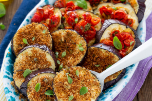 Melanzane al forno con pomodorini e gratinate